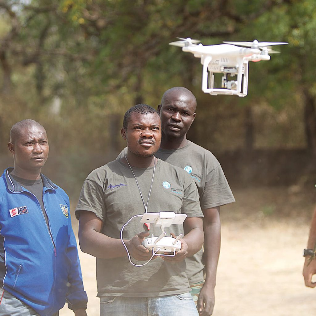 Rangers using a drone in Cameroon