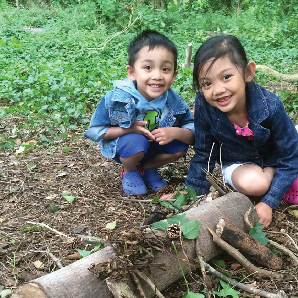 Children at forest school, Wild Place Project