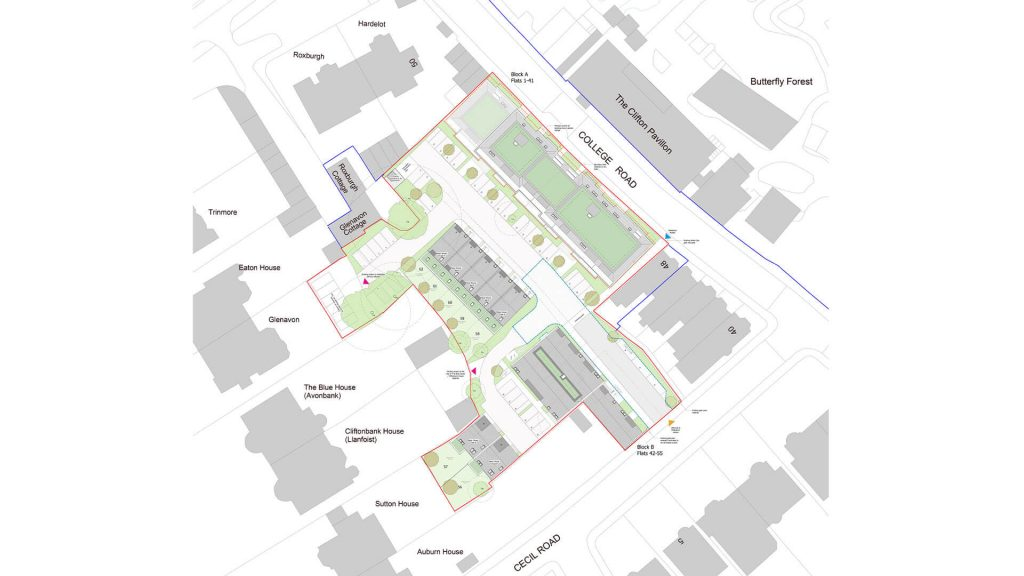 Site plan of West Car Park on College Road
