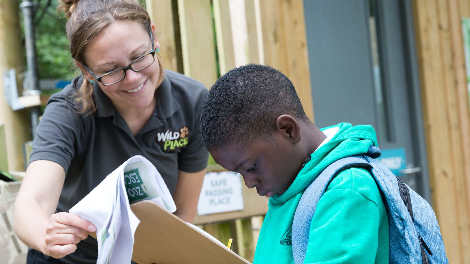 Primary school pupil taking part in a trail at Wild Place Project