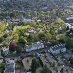An aerial photo of Bristol Zoo Gardens taken from a drone