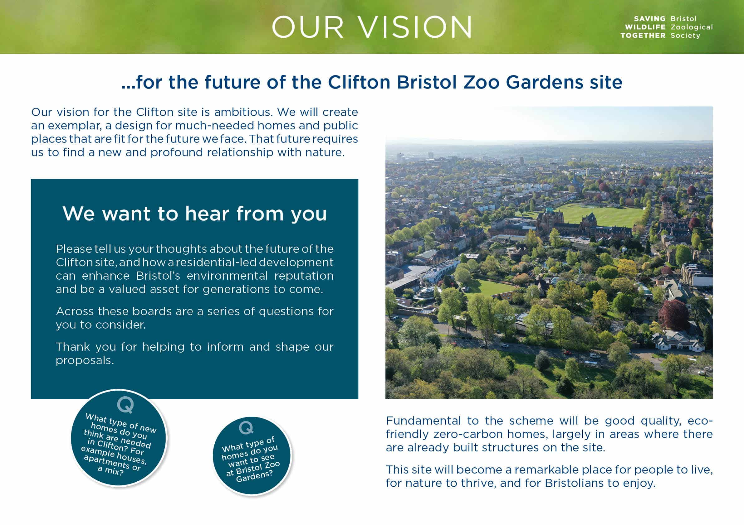 Moodboard with aerial view of Bristol Zoo Gardens and invitation to answer questions