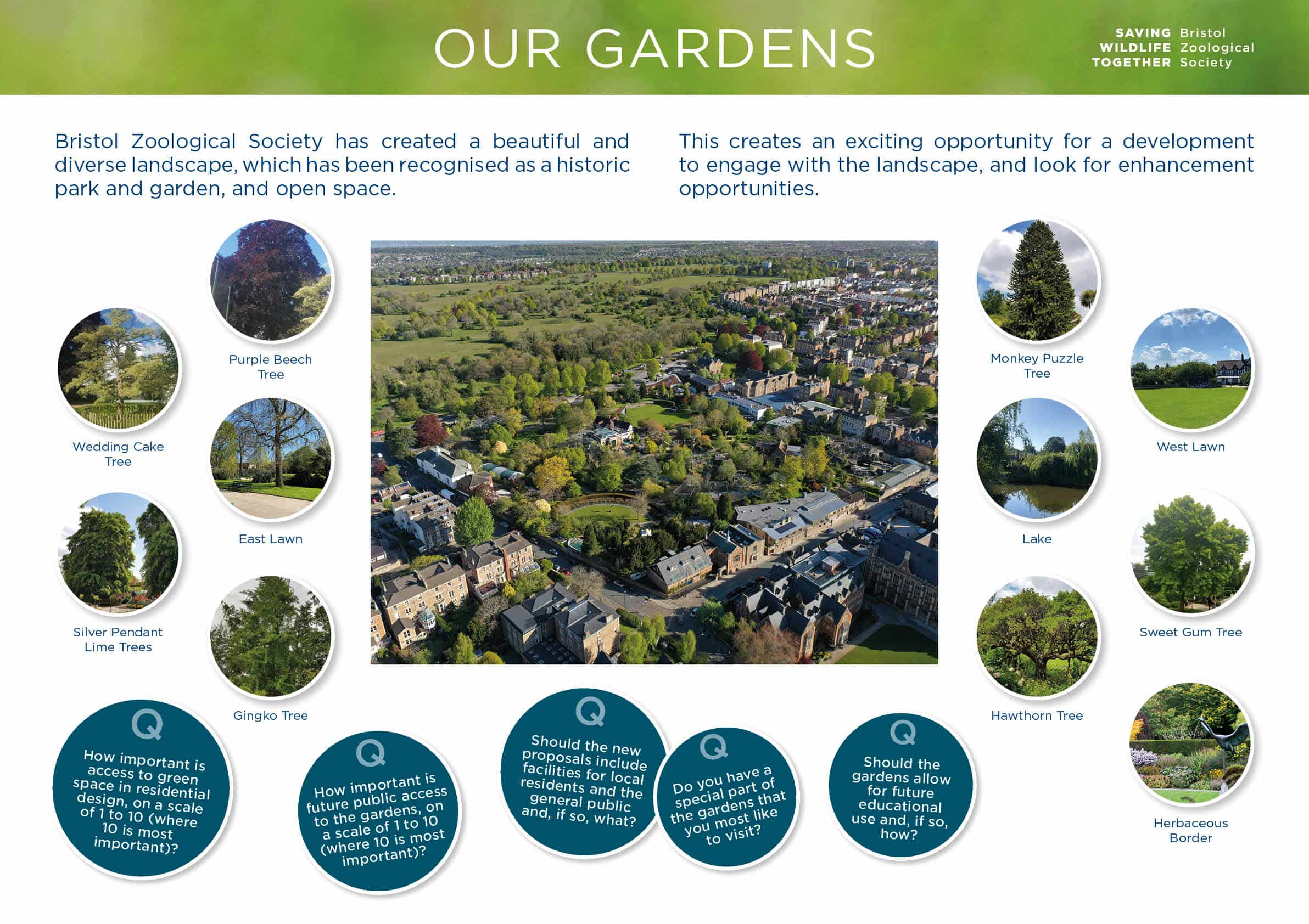 Moodboard with aerial photograph of Bristol Zoo Gardens and images of trees, lawns, lake and Herbaceous Border