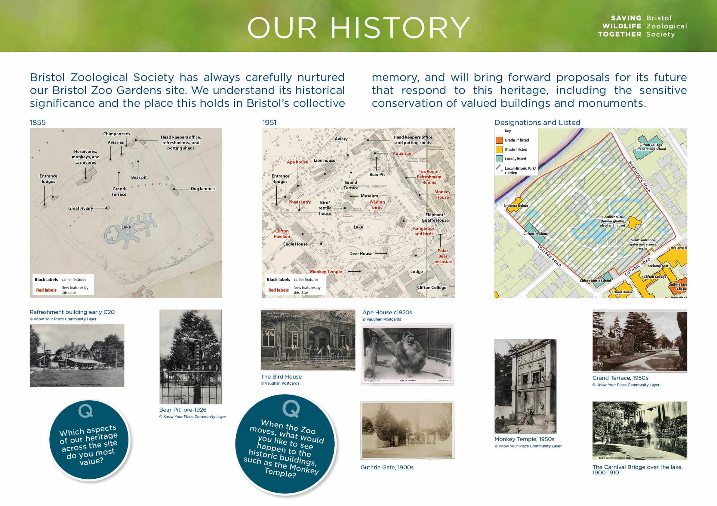 Moodboard with historical site plans and archive photographs of Bristol Zoo Gardens