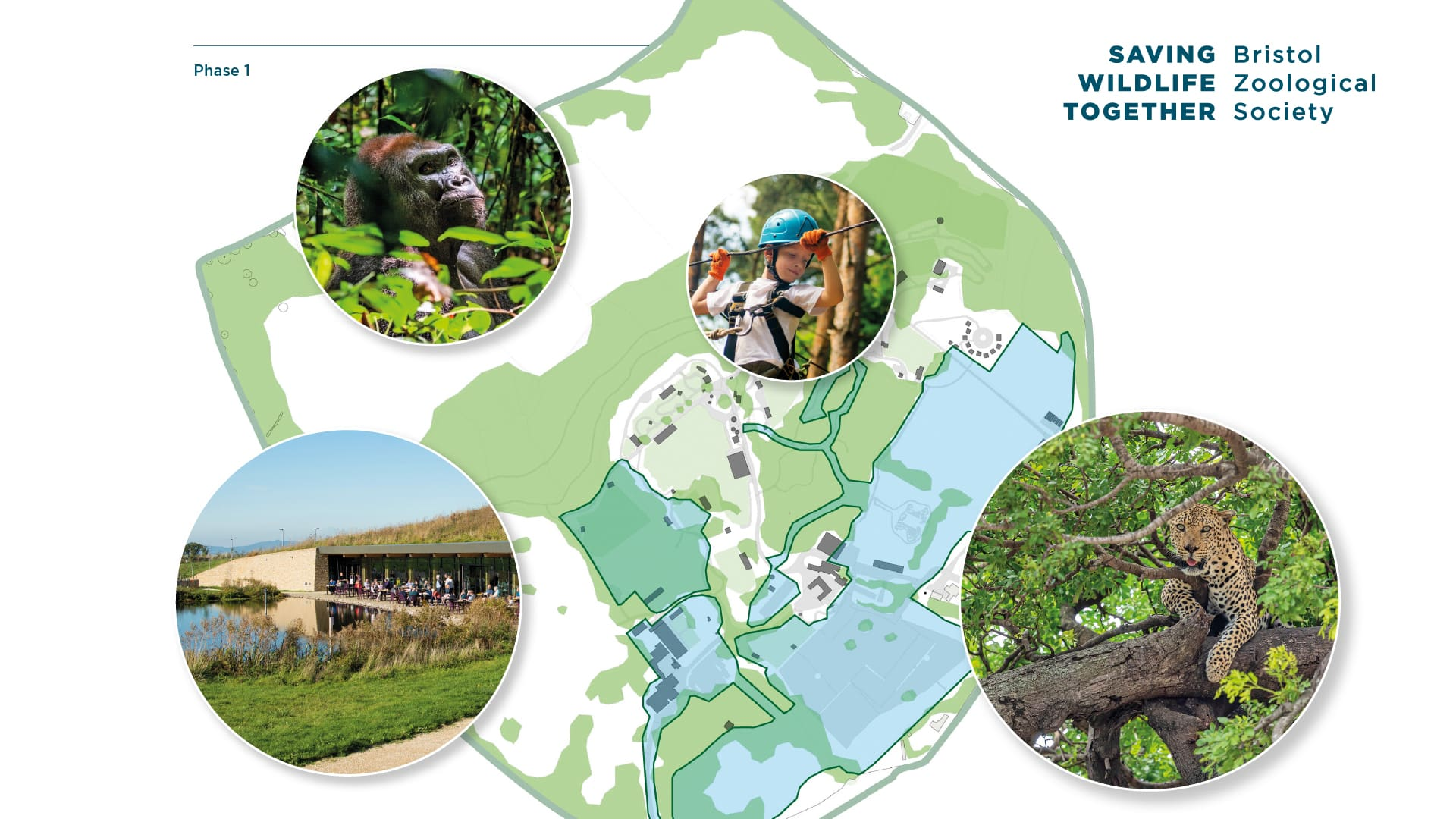 Strategy to 2035 moodboard showing site plan and example photos of animals in natural environment and visitors enjoying themselves outdoors
