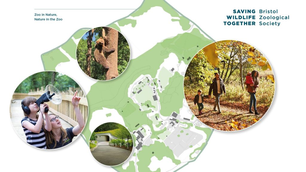 Strategy to 2035 moodboard showing site plan and example photos of green spaces, a bear climbing a tree and people enjoying the outdoors,