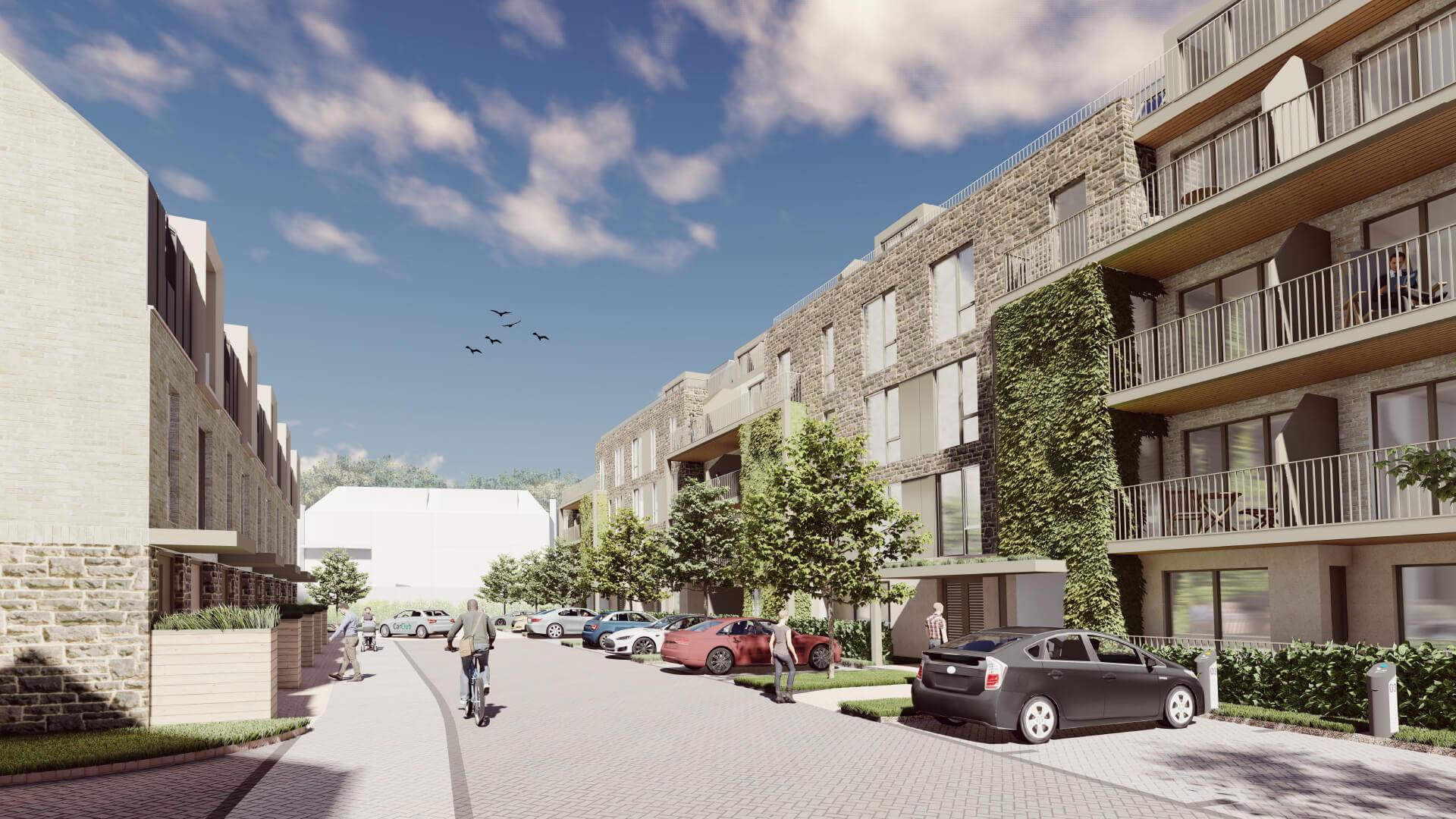 Visualisation of housing on West Car Park