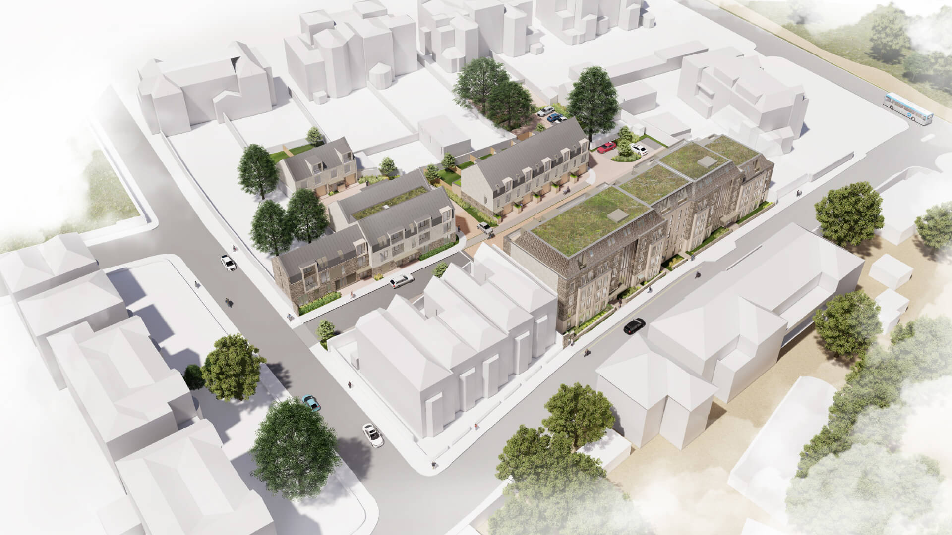 Aerial view of visualisation of housing on West Car Park site